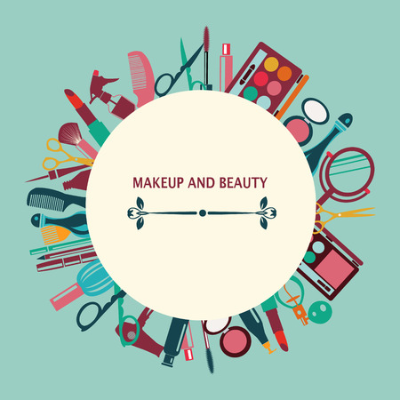 beautiful lady: pattern MakeUp and beauty cosmetic Symbols pattern on green background - Illustration