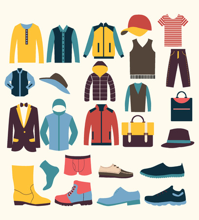 clothes: Group of Objects icons set of Fashion elements man clothing Illustration
