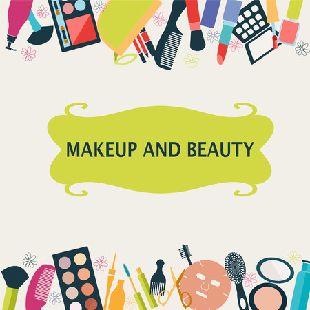 beauty product: pattern MakeUp and beauty cosmetic Symbols. Frame MakeUp and beauty- Illustration