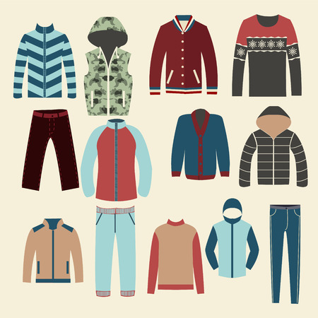 winter clothing: Winter clothes Group of Objects icons set of Fashion elements man clothing