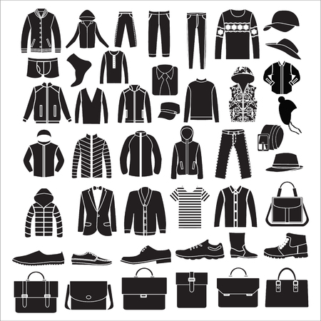 Collection of fashion Mens  Clothes and bags set of of Fashion elements Illusztráció