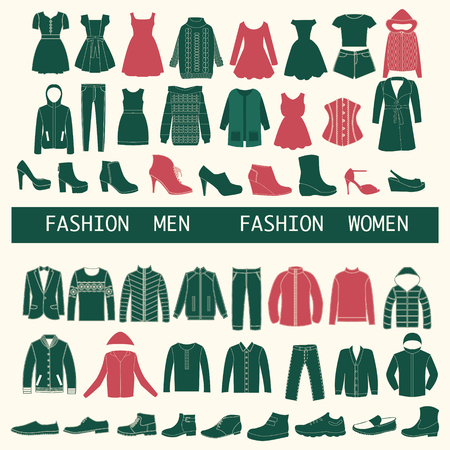 clothes: set with collection Icons of Men and Women Fashion  clothing