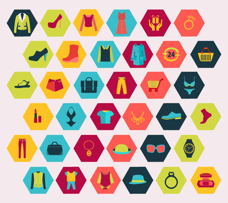 iconillustration: Vector Shopping and Fashion related icons set made in hexagon shape. Clothing and Fashion set icon-illustration