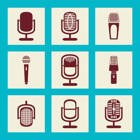cardioid: colección de iconos de micrófono - Ilustración de conjunto de iconos icono de la plana Vectores