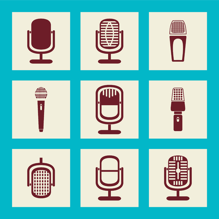 cardioid: collection of Microphone icons - Illustration icons set flat icon Illustration