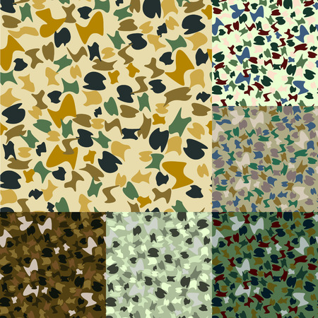 multiple exposure: set of camouflage Military pattern in 6 Colors Illustration