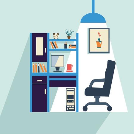 office furniture: set of office furniture computer desk - Illustration
