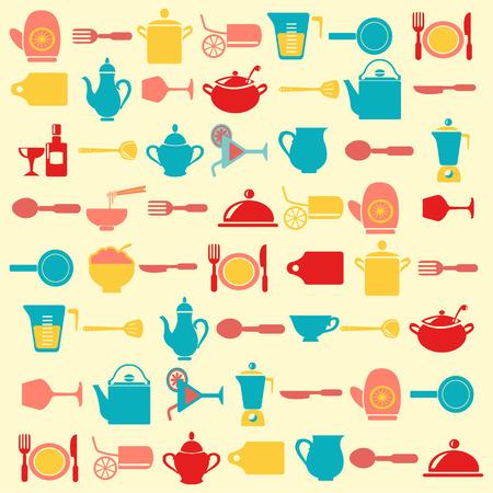 キッチンの背景の調理道具パターン - イラスト