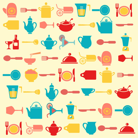 Kitchen  Background Cooking utensils pattern - Illustration Çizim