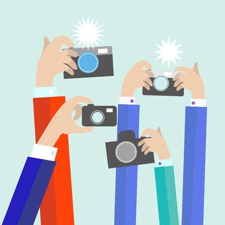 celebrities: Modern flat photographers hands with devices take photo