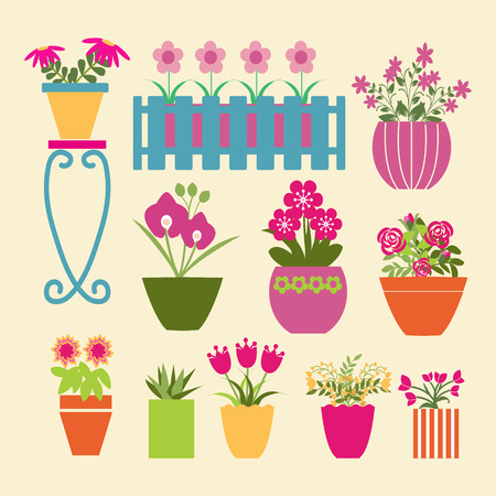 garden path: set of garden flowers  and  herbs in pots - Illustration