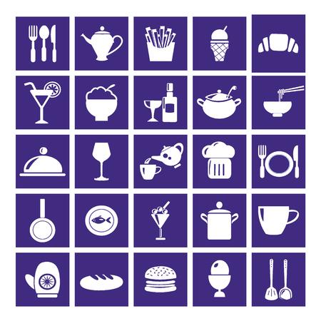 prepared fish: Restaurant & Food Icon Set - Illustration Illustration