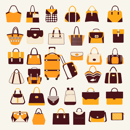business bags: Set icons of  collection with Women handbags  travel bag and business bags briefcase
