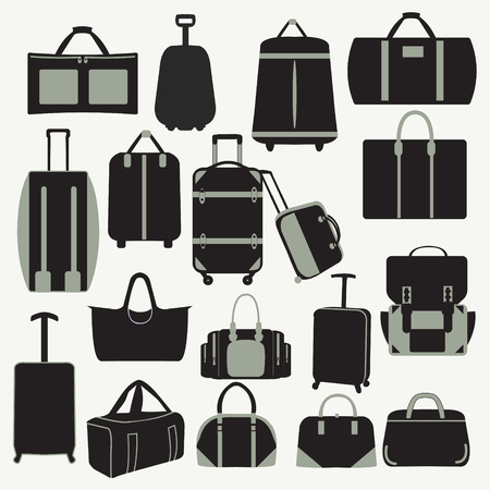 Baggage theme icons. Collection of  Travel bags - Illustration