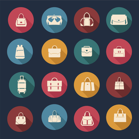 bag icon: set icons of Women and men handbags and travel bag in flat design