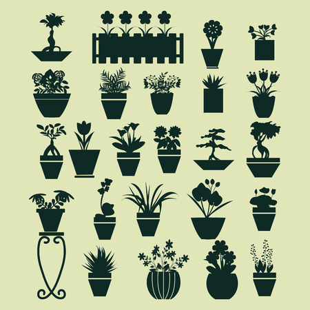 ferns and orchids: icons set of  pot plants  garden flowers  and  herbs in flat style Illustration