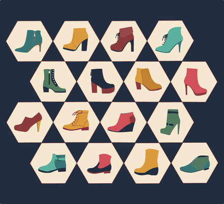 women's shoes: icons set of fashion  Footwear  womens shoes made in hexagon shape in vintage style Illustration