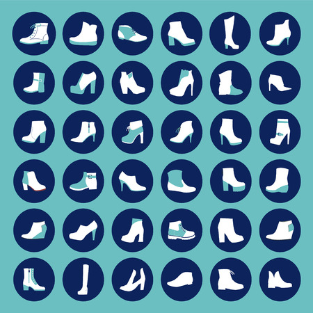 female soles: Set of icons of  fashion shoes  Silhouette vector fashion  Footwear  icon set Illustration