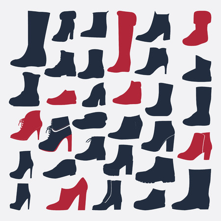 footwear: Silhouette Icons set of fashion Footwear winter and autumn collection-illustration Illustration