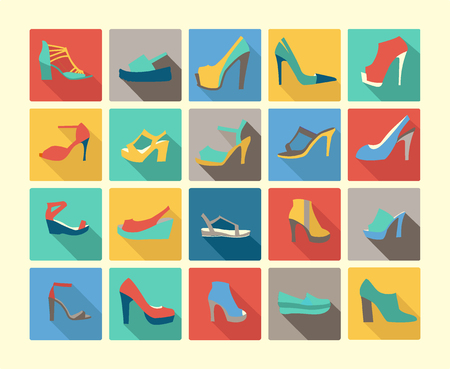 women's shoes: icons set of fashion  Footwear  womens shoes made in Flat design style