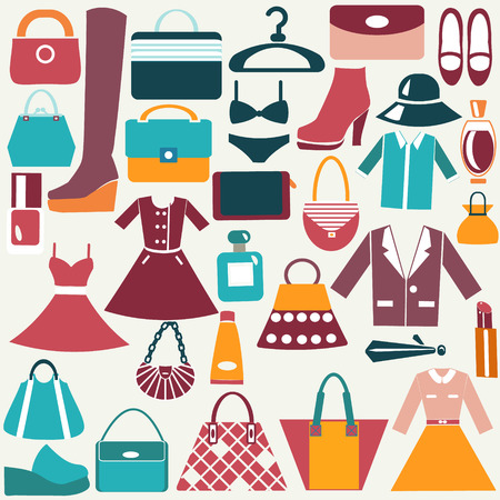 clothing stores: clothes and accessories vintage icons Color Flat Icon of Fashion bag Shopping Icons Illustration