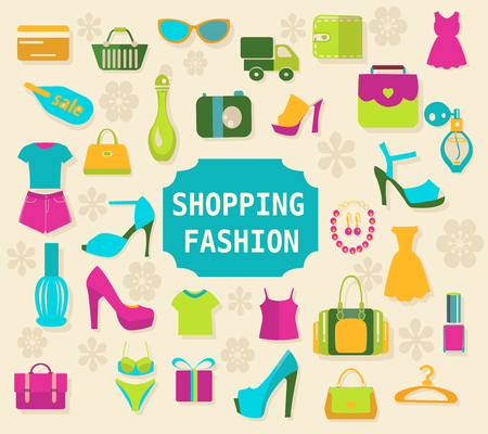 fashion shopping: Shopping and Fashion elements background vector clothing and shoes icons