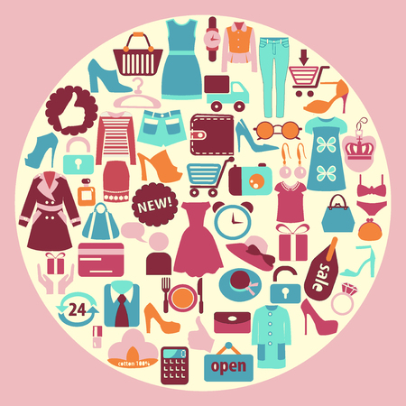 Shopping related icons made in circle shape Women Clothing and shoes