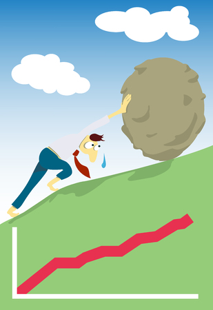 uphill: manager like Sisyphus pushing a boulder uphill