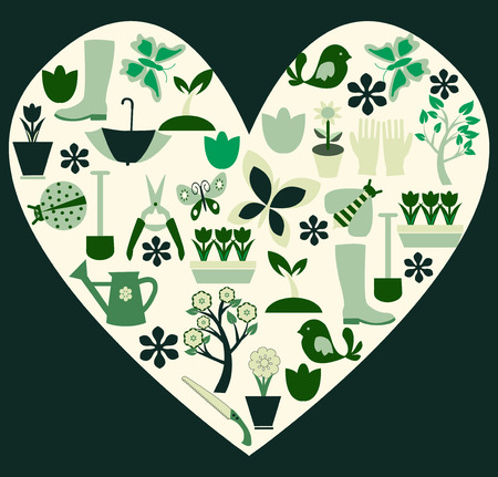 flowerbed: Love heart made up of all the theme Gardening and spring Illustration