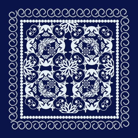 bandana: Ornate Bandana with geometric pattern background. Beautiful floral ornament can be used as a greeting card