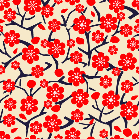 beatuful: vector floral seamless beatuful pattern with blossom cherry illustration Illustration