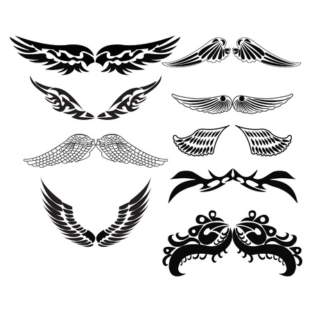 Vector Set sketches of tribal wings for tattoo design illustration Illustration