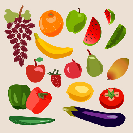 heathy: Vector collection of fruits and vegetables. Heathy  food for Organic shop illustration