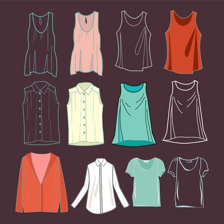 t shirt blouse: fashion womens shirts and female t-shirts for you design illustration. Illustration