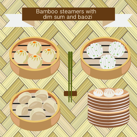 set of Bamboo steamers with dim sum and baozi-illustration