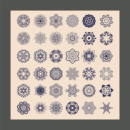 mandalas: Geometric circular ornament set. Isolated mandalas. Graphic template for your design. Decorative ethnic ornamental floral pattern.