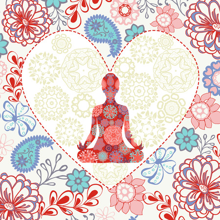 Ornament beautiful background with  lotus position yoga in heart shape. Geometric element. Concept of peace and love.