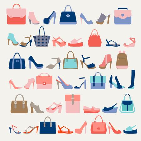 Colección de la moda de las mujeres empaqueta los bolsos y los zapatos de tacón alto en una tendencia de moda colores Ilustración de vector