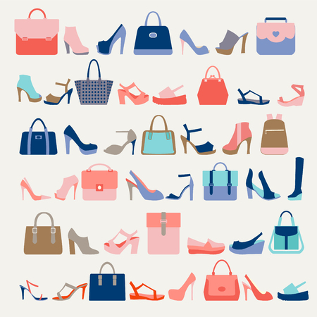 high heels: Collection  of  fashion Women bags handbags and High Heels shoes in a fashion trend colors