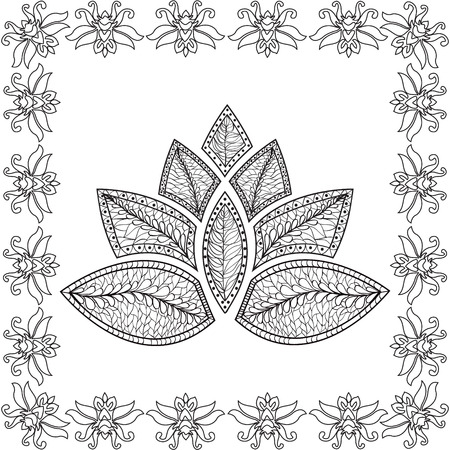 color swatch book: background with  lotus .Coloring page for adult  pattern. Illustration