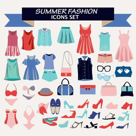 fashion boutique: Fashion beautiful collection of woman clothes  and accessories. Fashion boutique  for design fashion look - Illustration Illustration