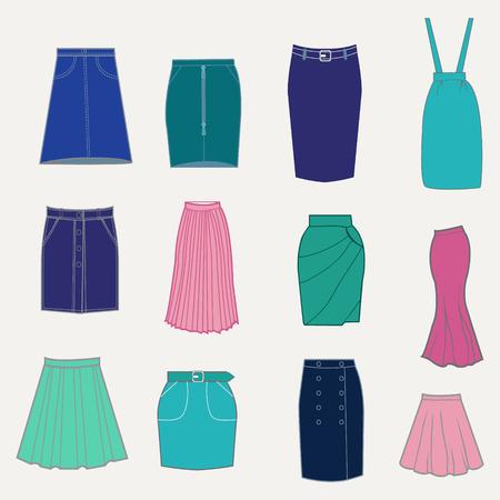 Set con diferentes faldas. ilustración de las faldas de las mujeres. Conjunto de ropa de mujer de moda.