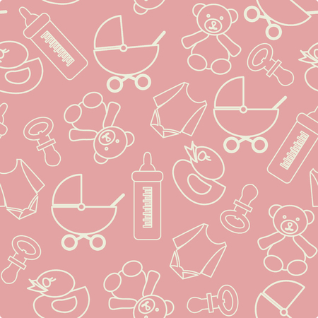 cute baby girls: Pattern of baby shower elements, cute background illustration Illustration