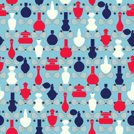 stage makeup: Vector pattern of bows and perfume bottles -  Illustration. Vector Seamless retro style repeating background.