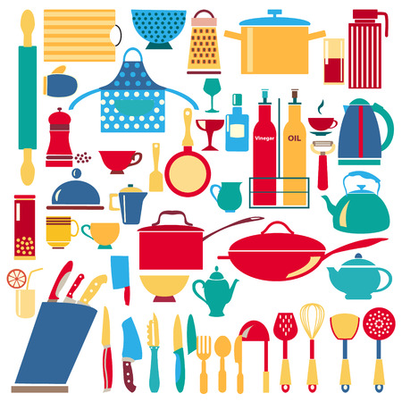 commercial kitchen: vector kitchen and restaurant icon kitchenware set illustration Illustration