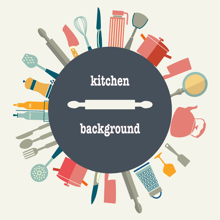 kitchen utensil: vector set  Pattern of Kitchen utensil in FLAT-Styled kitchenware background