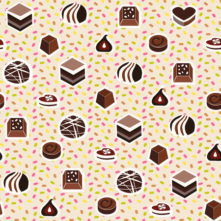 assortment: Vector illustration of assortment of chocolates candy  seamless pattern. Sweets background Illustration