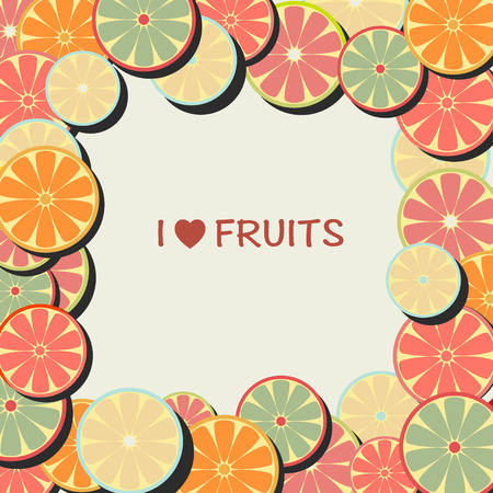 lemon lime: vector Fruit background in Flat. Frame with citrus fruits- orange, lemon, lime illustration