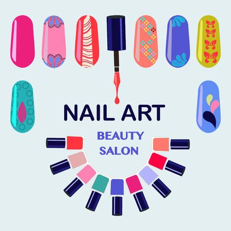 Vector Set van kleurrijke nagellak flessen. Nagels beauty salon achtergrond - Illustratie