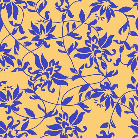 flores chinas: Vector de loto - sin patrón - Ilustración. Antecedentes belleza con un loto azul. Vectores